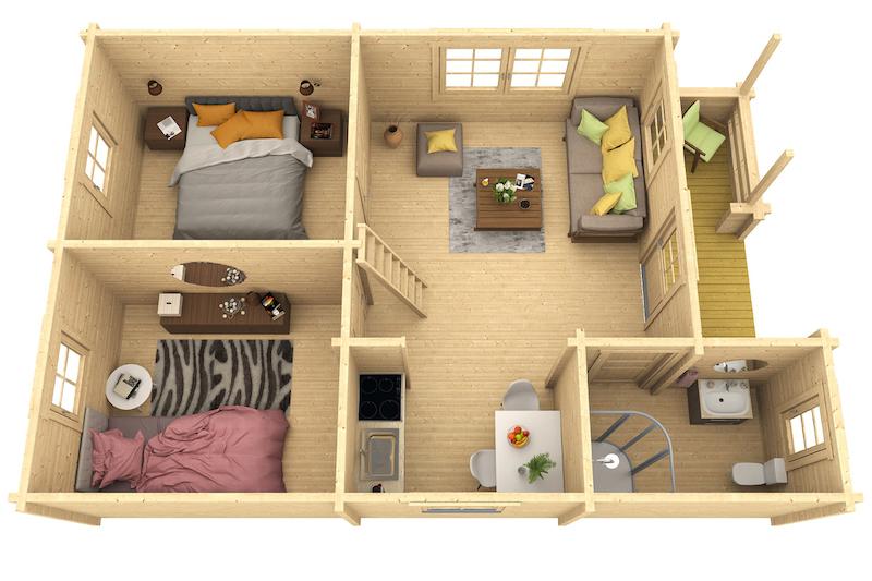 holz ferienhaus spessart 70 b bei gartenhaus2000. Black Bedroom Furniture Sets. Home Design Ideas