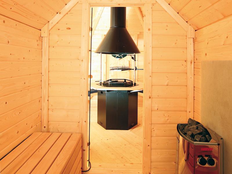 grillkota mit saunaanbau schwarz von wolff finnhaus. Black Bedroom Furniture Sets. Home Design Ideas