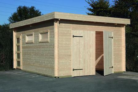 flachdach holzgarage 44 moderna mit doppeltor. Black Bedroom Furniture Sets. Home Design Ideas