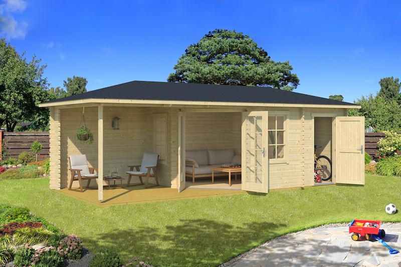 5-Eck-Gartenhaus Aruba 3A mit überdachter Terrasse