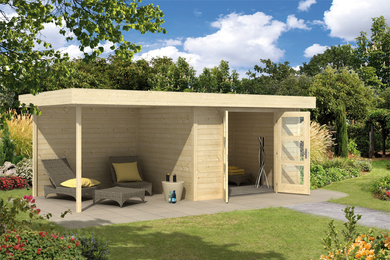 gartenhaus calais mit anbau und seitenwand bei gartenhaus2000. Black Bedroom Furniture Sets. Home Design Ideas