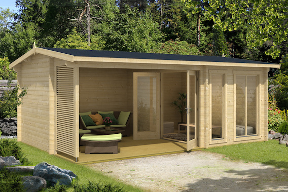 gartenhaus torquay 44 mit terrasse bei gartenhaus2000. Black Bedroom Furniture Sets. Home Design Ideas